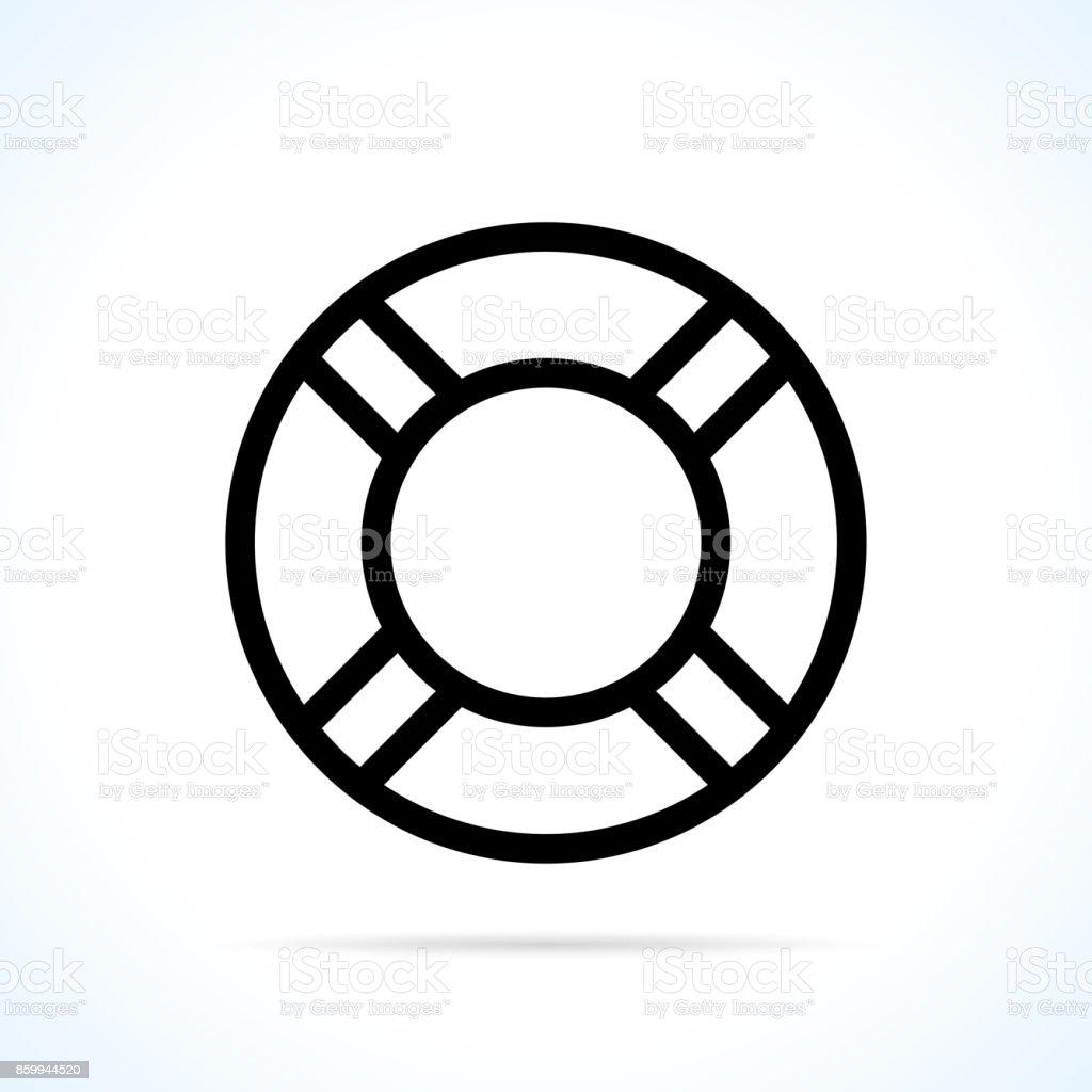 life buoy icon on white background vector art illustration