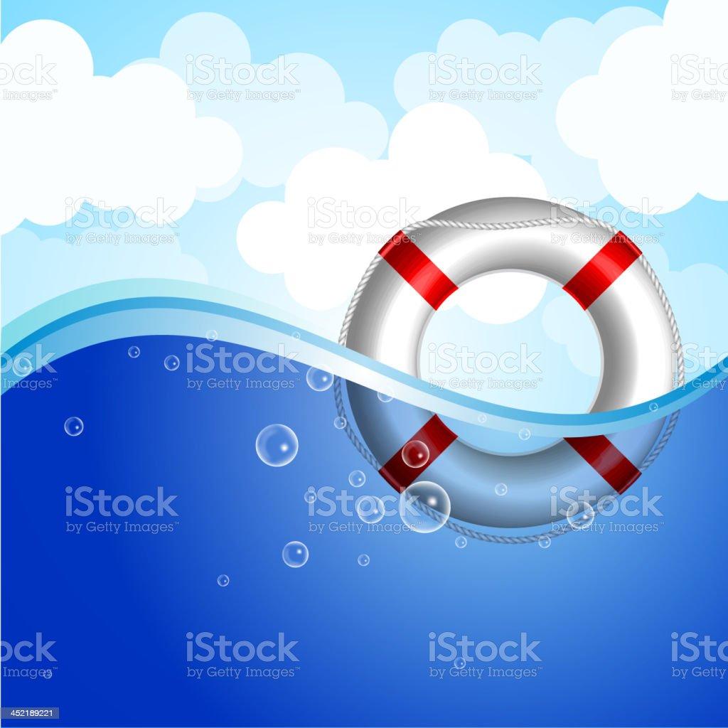 Life Buoy in water vector art illustration
