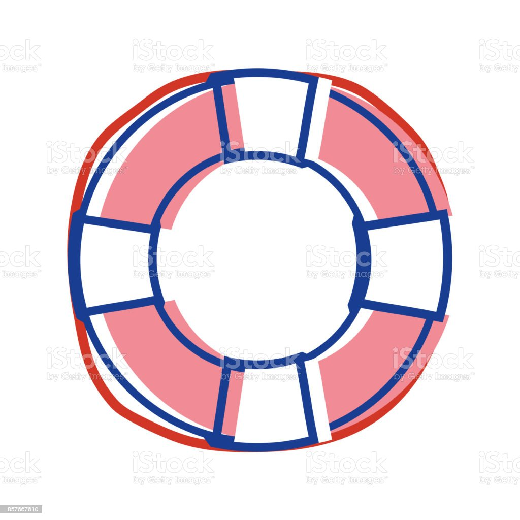 life buoy object to security emergency vector art illustration