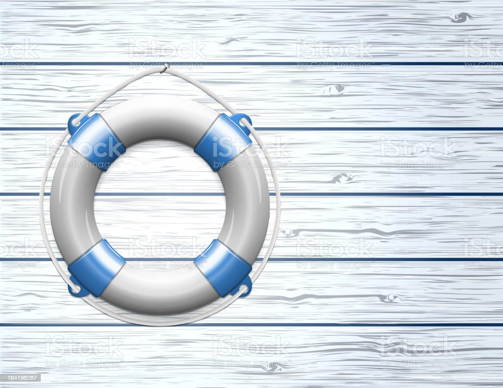 Life Buoy on  a Wooden Paneled Wall royalty-free stock vector art