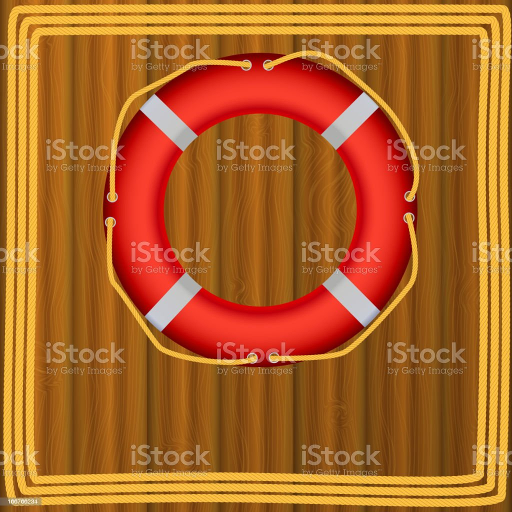 Life Buoy On boards Background, ropes, Illustration. royalty-free life buoy on boards background ropes illustration stock vector art & more images of a helping hand
