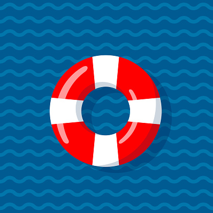Life buoy on the wavy lines background