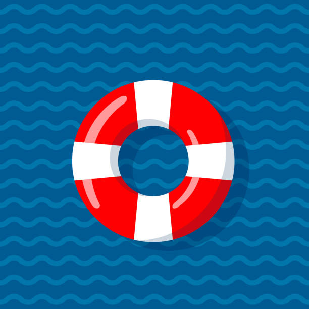Life buoy on the wavy lines background Life buoy on the wavy lines background. Floating device for shipwreck survivals. Vector illustration in flat style. lifeguard stock illustrations