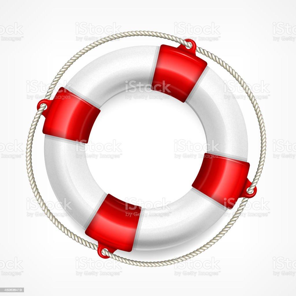 Life buoy on white vector art illustration