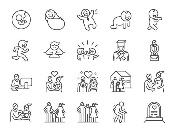 ライフサイクルラインアイコンセット。出生、子供、死、成長、家族、幸せなど、アイコンが含まれています。 - 赤ちゃん点のイラスト素材/クリップアート素材/マンガ素材/アイコン素材