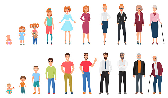 Life cycles of man and woman. People generations. Human growth concept vector illustration