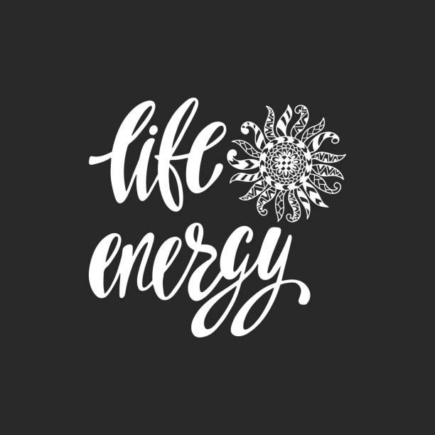 lebensenergie. inspirierende angebot. moderne kalligraphie satz mit hand gezeichnet ornamentalen sonne. einfachen vektor schriftzug für print und plakat. - zigeunerleben stock-grafiken, -clipart, -cartoons und -symbole