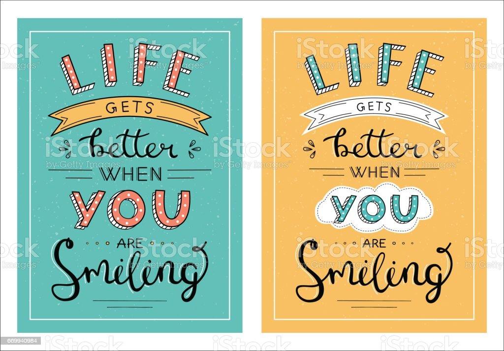 Das Leben wird besser, wenn Sie handgeschriebene Schrift Satz Lächeln – Vektorgrafik
