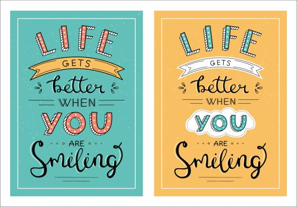 Life gets better when you are smiling handwritten lettering phrase Set of creative design posters in different colors. aphorism stock illustrations