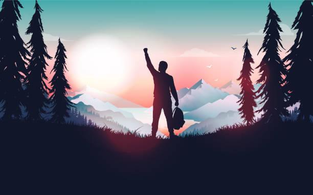 ilustrações de stock, clip art, desenhos animados e ícones de life goal achievement - happy man celebrating personal success by raising hand in nature. - alter do chão