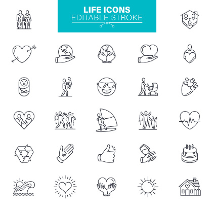 Life Icons Editable Stroke. Sympathy, help and love icons set