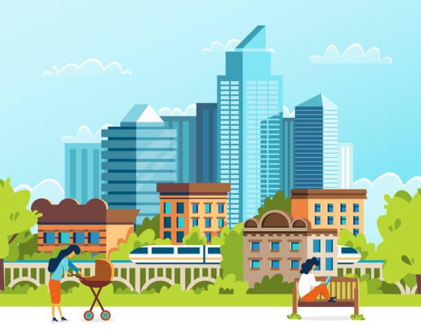 Leben in einer Großstadt. Urbane Menschen. Cartoon-Vektor. – Vektorgrafik