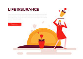 Life insurance - colorful flat design style web banner on white background with copy space for text. A composition with a woman protecting herself from a falling flower pot, accident. Safety concept