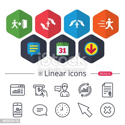 Calendar, Speech bubble and Download signs. Life insurance hands protection icon. Human running symbol. Emergency exit with arrow sign. Chat, Report graph line icons. More linear signs. Vector