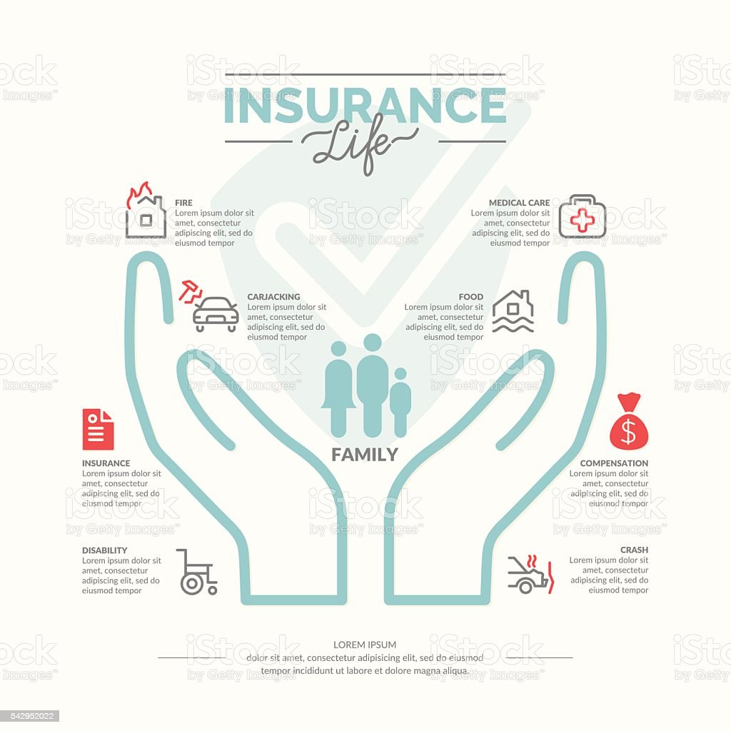 Life insurance icons. vector art illustration