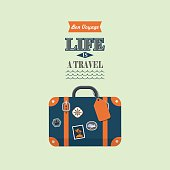 life is a travel vector retro poster