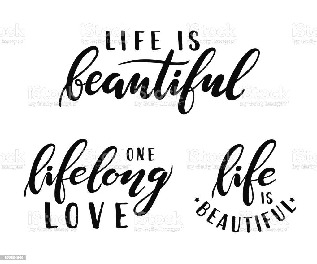 Ilustración De La Vida Es Bella Un Amor De Toda La Vida Inscripción