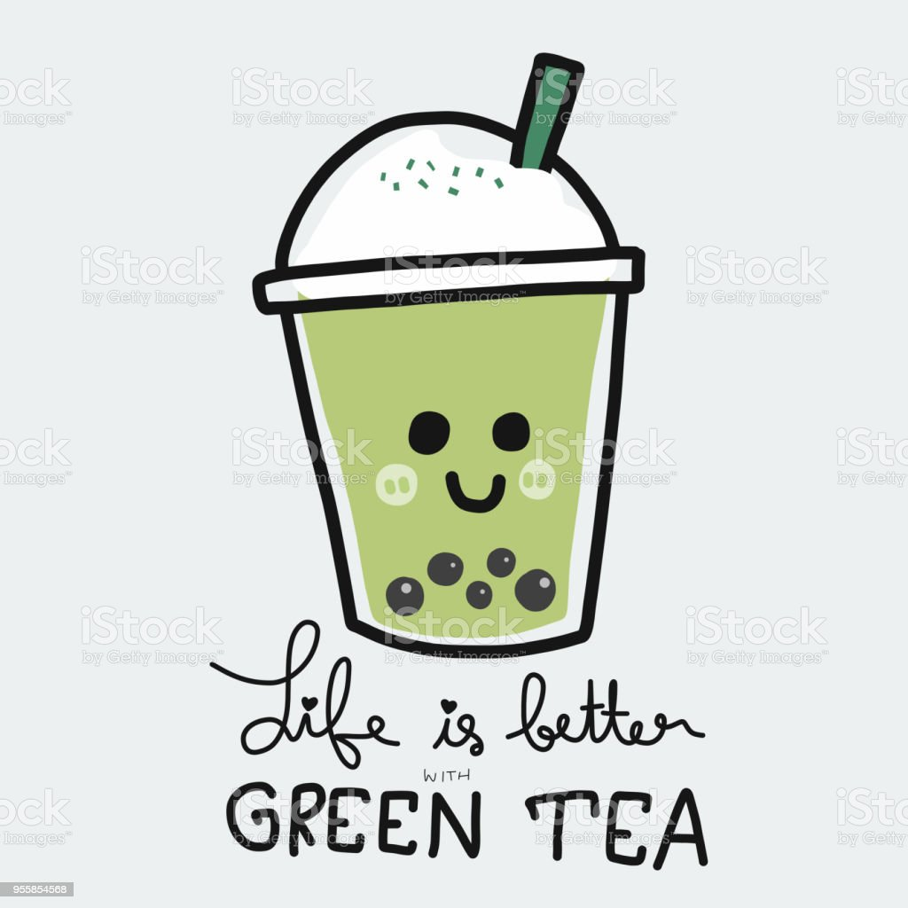 Life is better with bubble green tea cartoon doodle style vector art illustration
