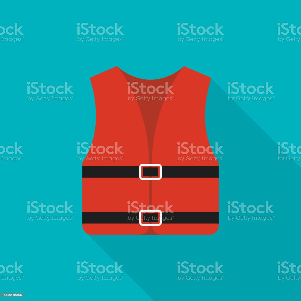 Life jacket icon with long shadow on blue background, flat design style vector art illustration