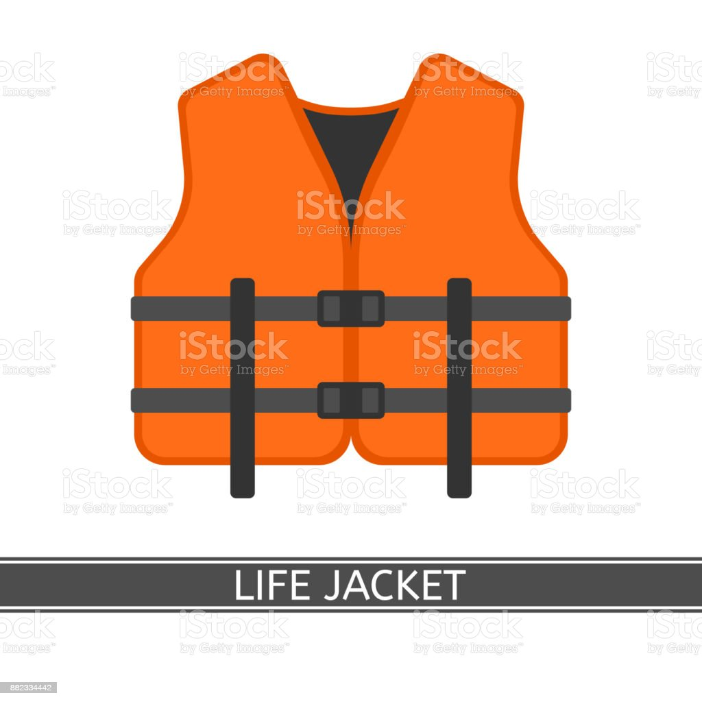 Life Jacket Isolated vector art illustration