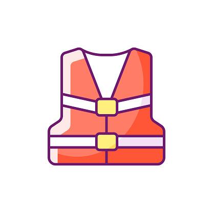 Life jacket RGB color icon