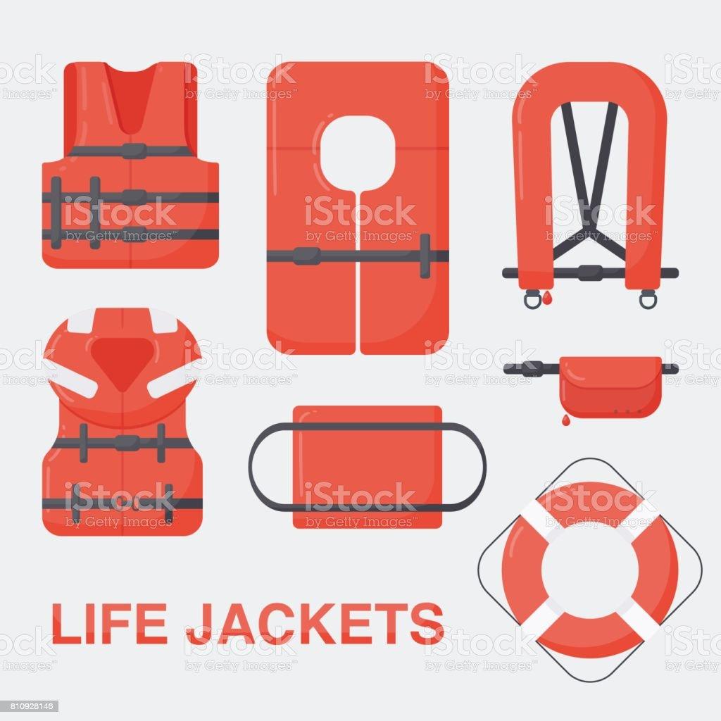 Life jacket vector flat set vector art illustration