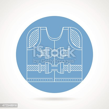Round blue vector icon with white line design life jacket on gray background.