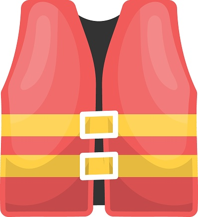 Life Jackets Concept, Beach Safety Vest Vector Icon Design, Summer Spring activities Symbol, Hot Weather Sign, Warmest Season Elements Stock illustration