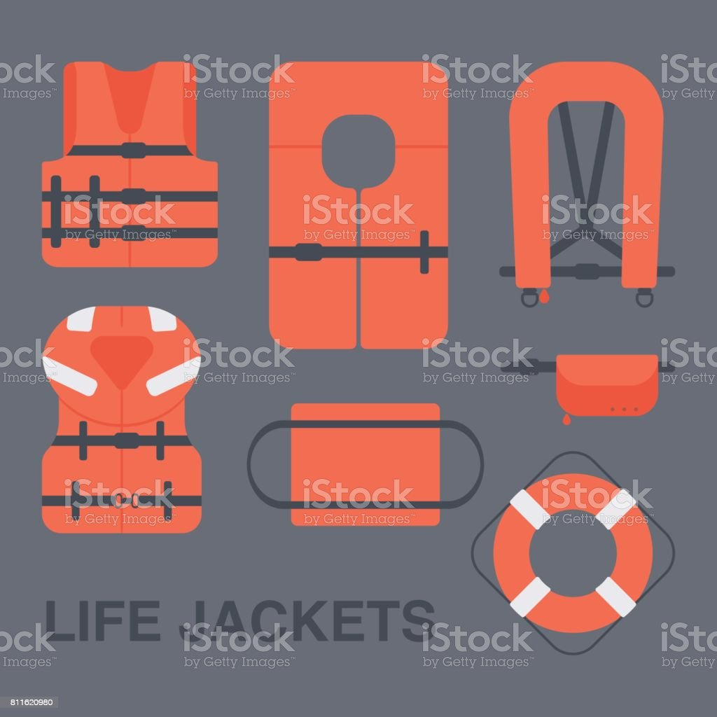 Life jackets types vector flat icons set vector art illustration