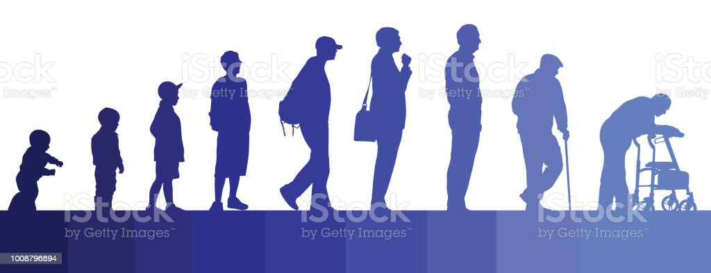 Life Journey Men vector silhouettes of a man's life from childhood to old age Adolescence stock vector