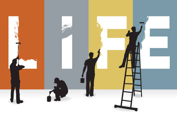 Life, Lifestyle, Relationship Concept Graphic Life, Lifestyle, Relationship Concept Graphic. Silhouette illustration of painters painting the word LIFE on a wall. house painter stock illustrations