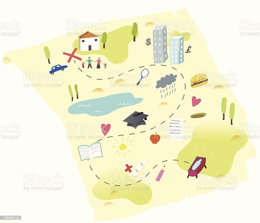 Mapa de vida - ilustração de arte em vetor