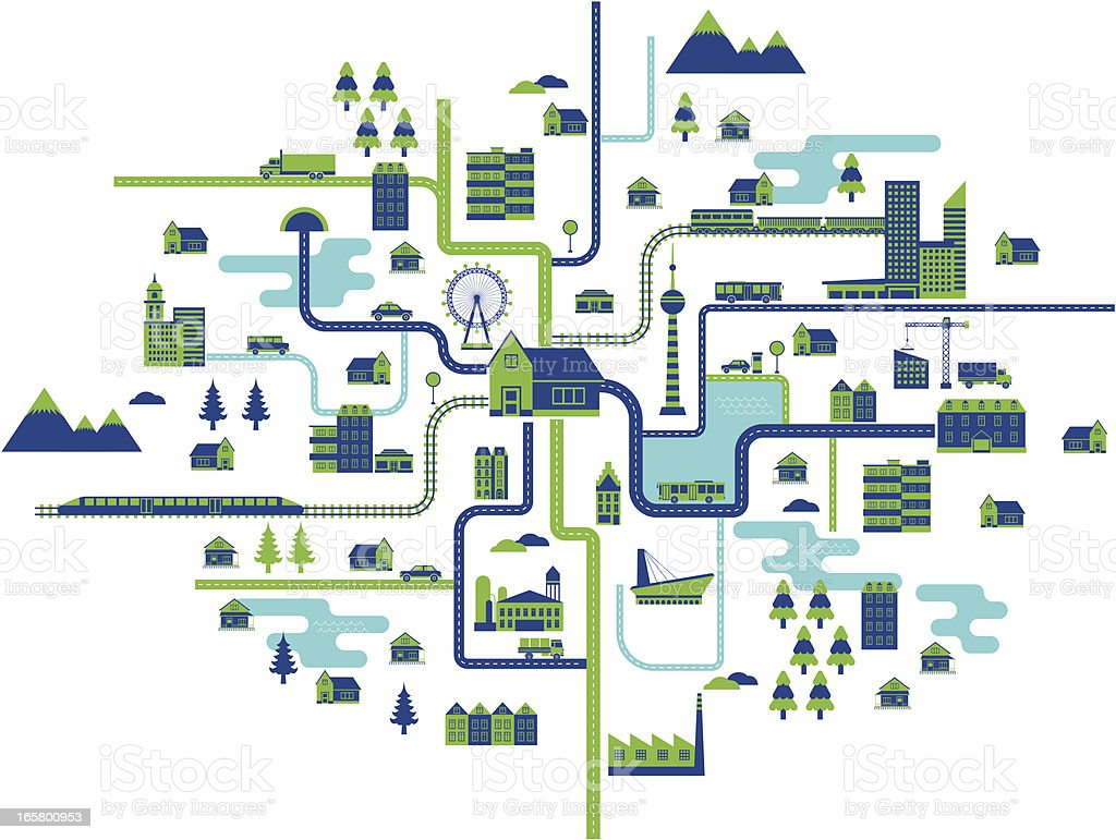 life map vector art illustration