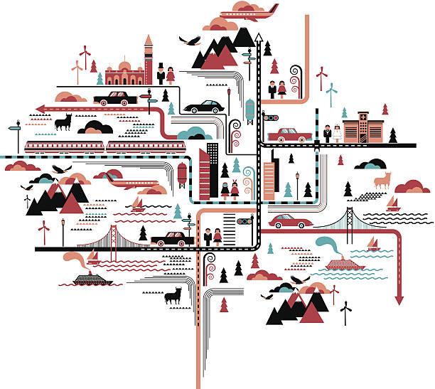 寿命のマップ - 旅行/交通機関点のイラスト素材/クリップアート素材/マンガ素材/アイコン素材