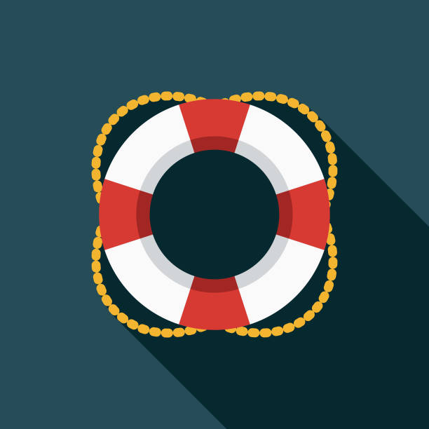 Life Preserver Flat Design Summer Icon with Side Shadow A colored flat design summer and beach icon with a long side shadow. Color swatches are global so it's easy to edit and change the colors. lifeguard stock illustrations