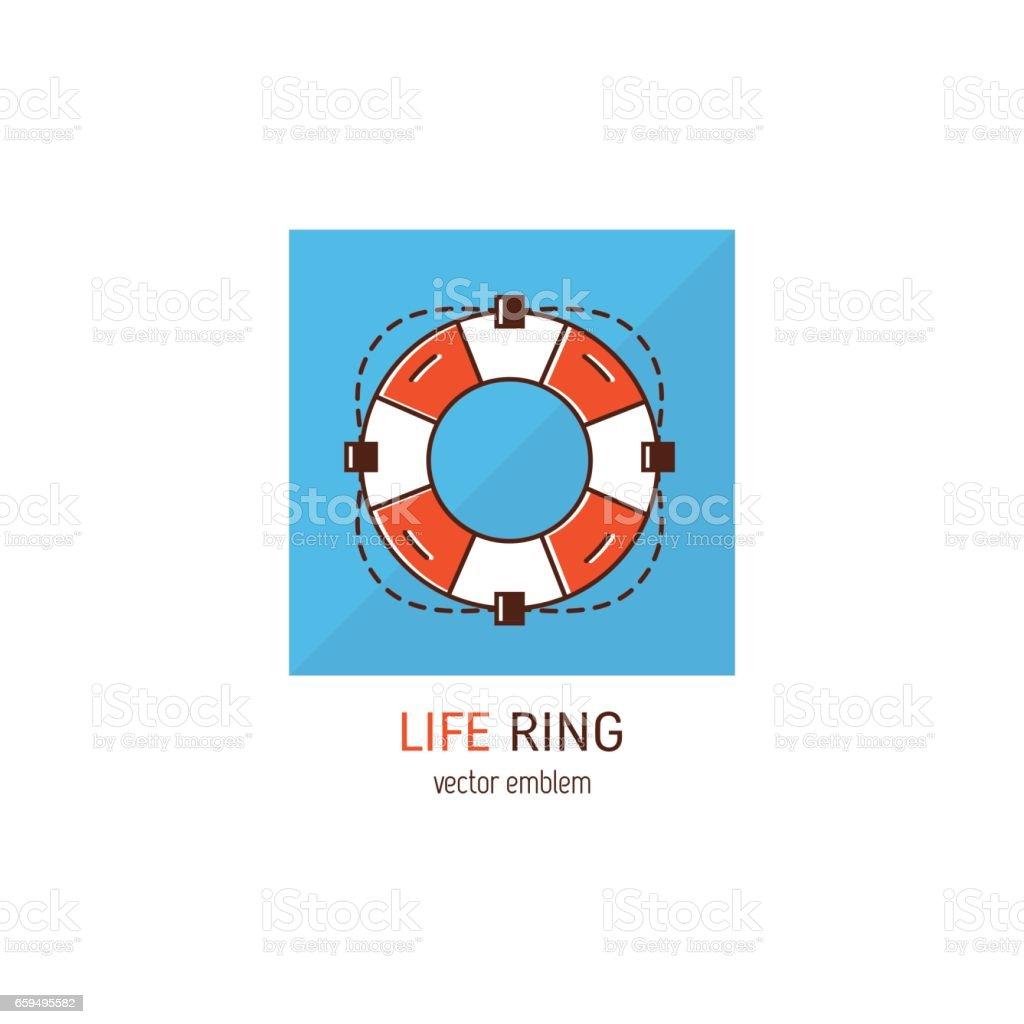 Life ring emblem vector art illustration