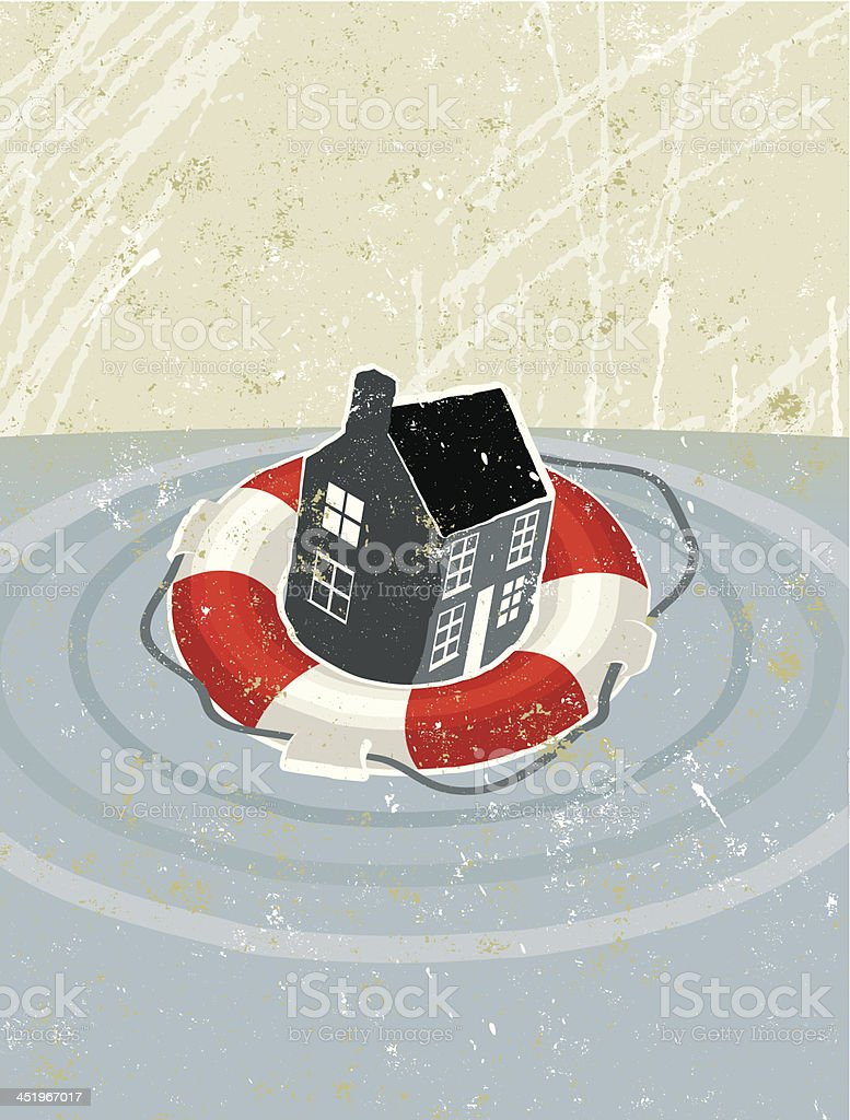 Life Ring Saving a House royalty-free life ring saving a house stock vector art & more images of a helping hand