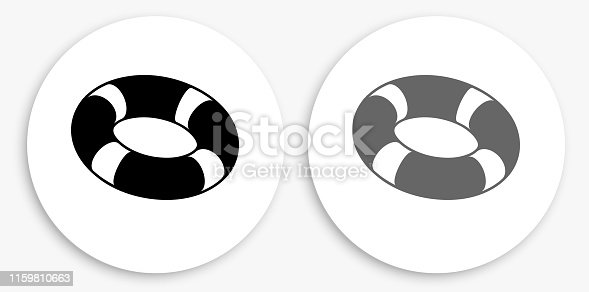 Life Saver Black and White Round Icon. This 100% royalty free vector illustration is featuring a round button with a drop shadow and the main icon is depicted in black and in grey for a roll-over effect.