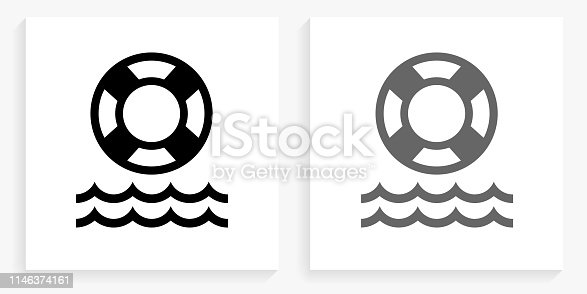 Life Saver Black and White Square Icon. This 100% royalty free vector illustration is featuring the square button with a drop shadow and the main icon is depicted in black and in grey for a roll-over effect.