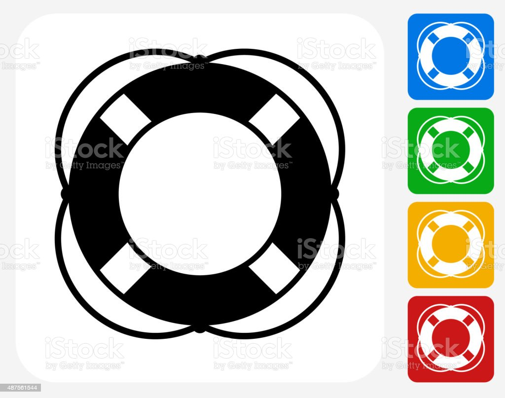 Life Saver Icon Flat Graphic Design vector art illustration