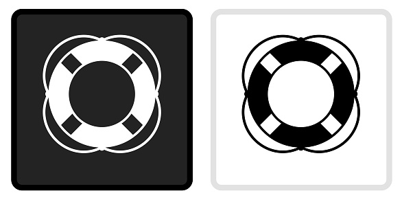 Life Saver Icon on  Black Button with White Rollover