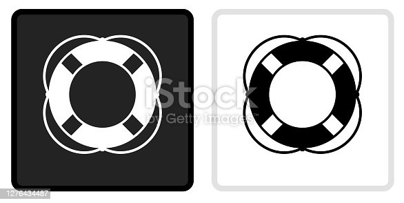 Life Saver Icon on  Black Button with White Rollover. This vector icon has two  variations. The first one on the left is dark gray with a black border and the second button on the right is white with a light gray border. The buttons are identical in size and will work perfectly as a roll-over combination.