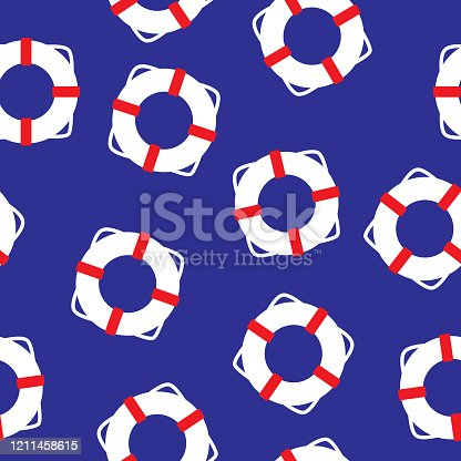 Vector illustration of life saver rings in a repeating pattern against a blue background.