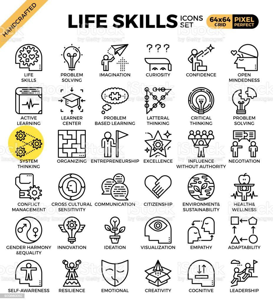 Iconos de concepto de habilidades de vida - ilustración de arte vectorial