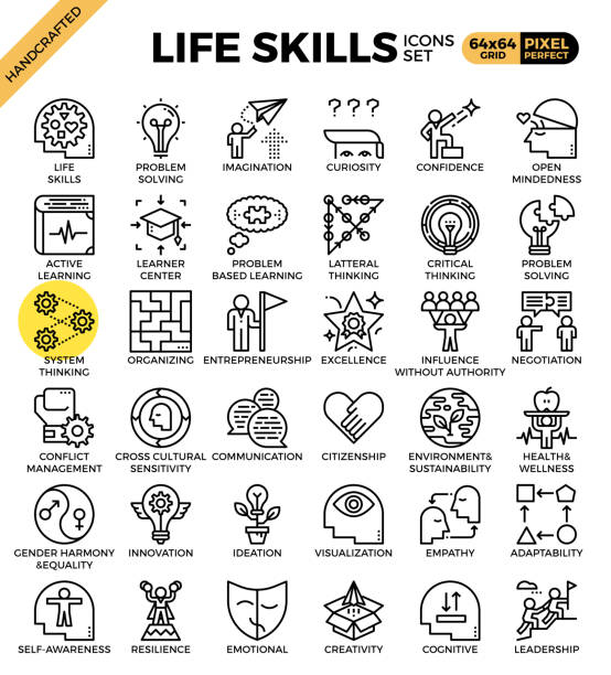 Life skills concept icons vector art illustration
