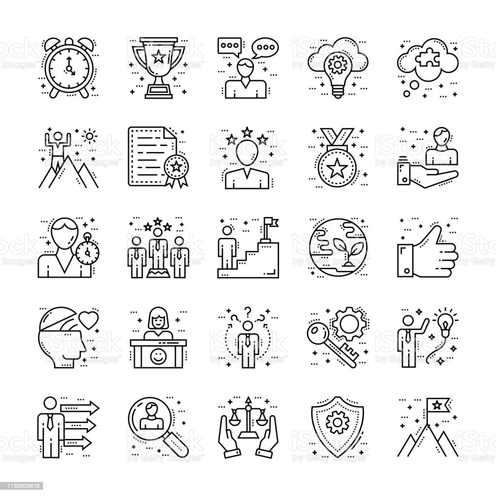 Life Skills Icons Pack vector art illustration