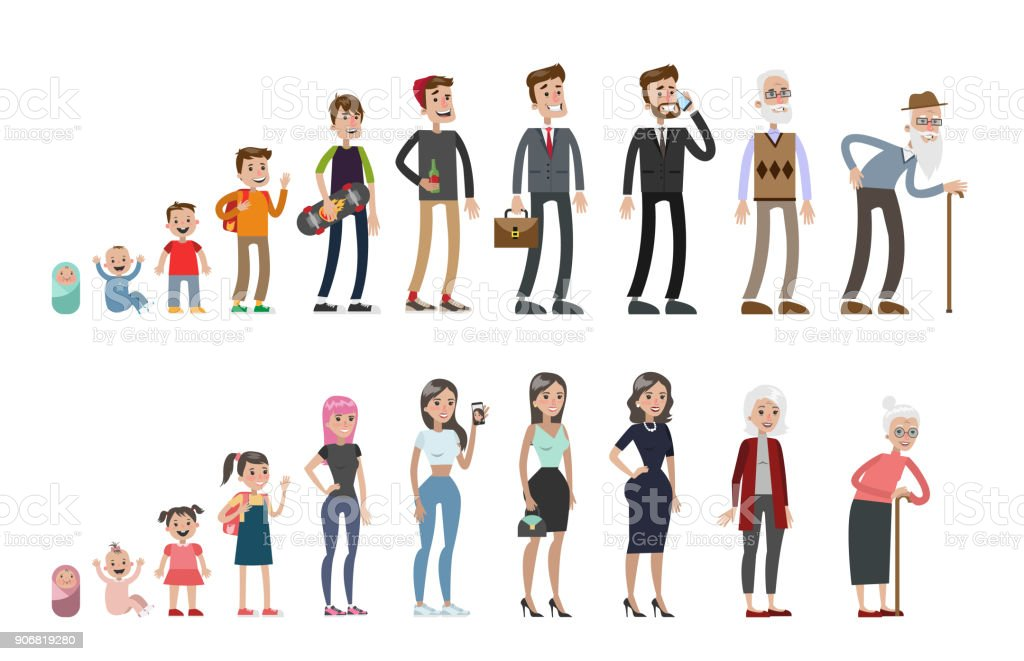 Life stages set. vector art illustration