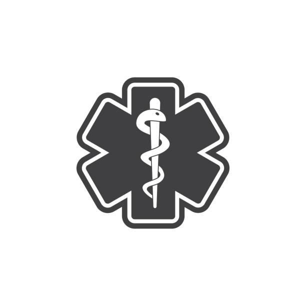 ilustraciones, imágenes clip art, dibujos animados e iconos de stock de icono de estrella serpiente médica de vida. - técnico en urgencias médicas