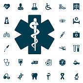 Life star snake icon, medical set on white background. Health Care Vector illustration
