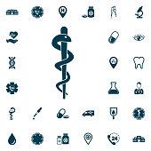 life star snake symbol icon, medical set on white background. Health Care Vector illustration